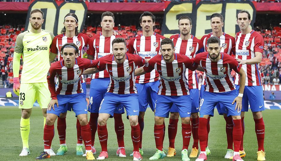 Temporada 16/17. Partido Atlético Real Madrid. Once durante el partido