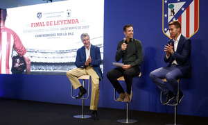 Temporada 16/17. Acto Leyendas Atlético de Madrid. Solozábal, Gárate y Gabi.