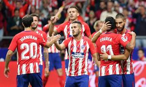 Temporada 2017-18. Primer gol del Wanda Metropolitano. Celebración ( Piña)