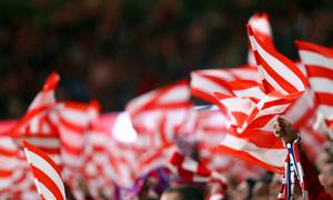 temporada 17/18. Partido en el Wanda Metropolitano. Banderas afición