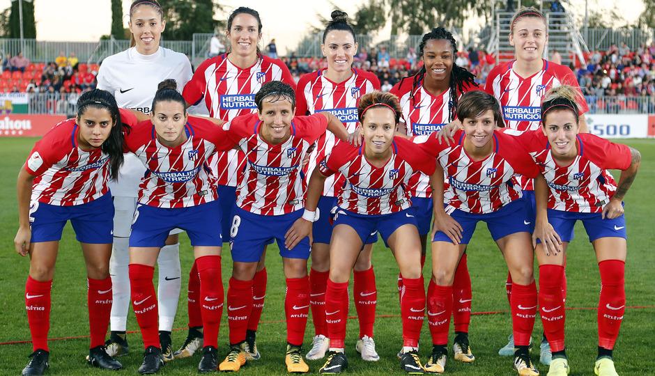 Temporada 17/18. Partido entre el Atlético de Madrid Femenino contra FC Barcelona. Once.