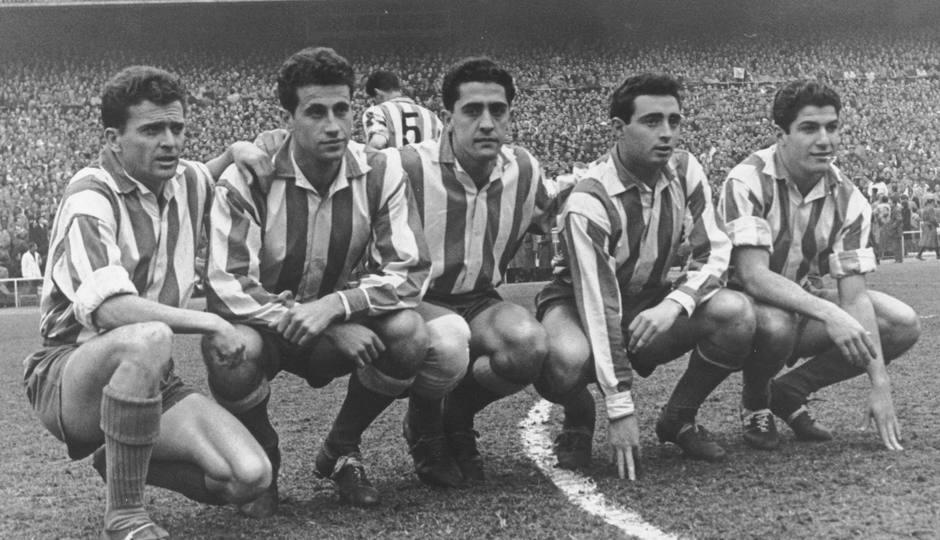 Peiró forma en su etapa como jugador rojiblanco junto a Miguel, Callejo, Chuzo y Collar