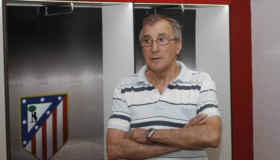 Ufarte, en una imagen actual dentro del vestuario del primer equipo en el Vicente Calderón