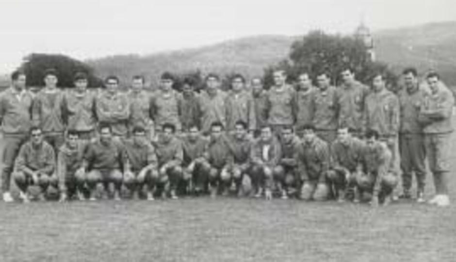 Imagen de la selección nacional en una concentración en la que estaba Ufarte