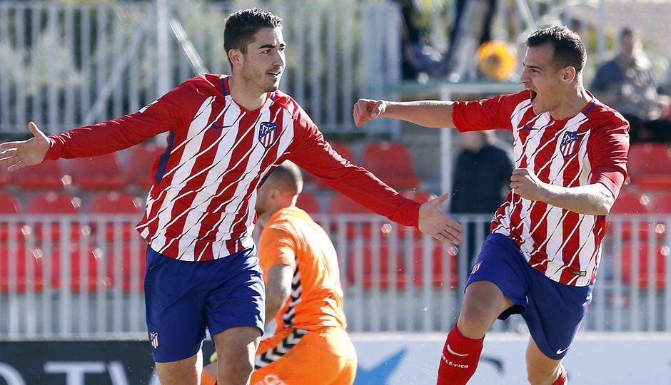 Temporada 17/18 | Atlético B - Valladolid B | Celebración Toni Moya y Perales