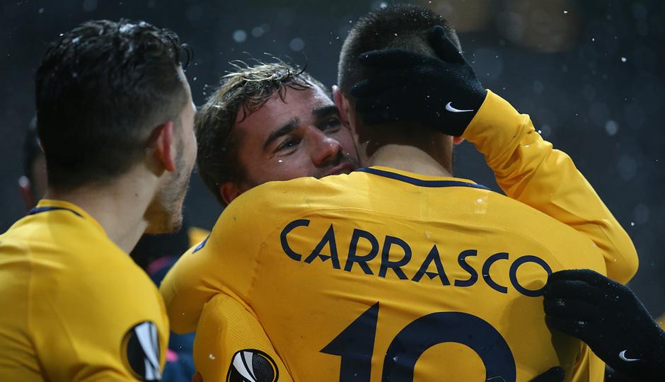 Europa League   Copenhague - Atleti - Celebración II gol Griezmann y Carrasco