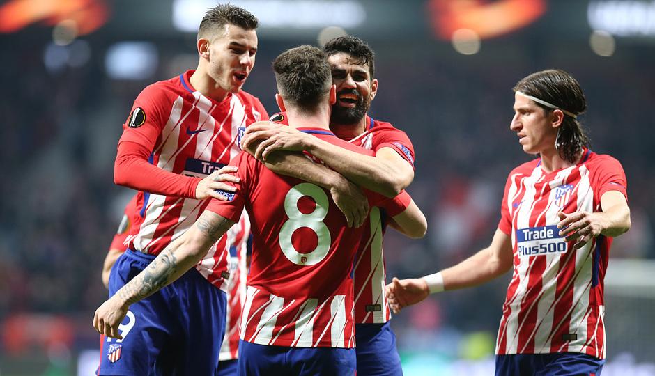 Temp. 17/18 | Ida de octavos | 08/03/18 | Atlético de Madrid - Lokomotiv | Saúl