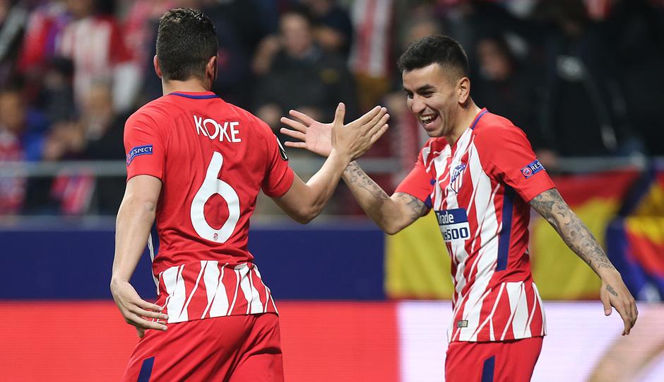 Temp. 17-18 | Atlético de Madrid - Sporting de Portugal | 05-04-2018 |  Koke y Correa