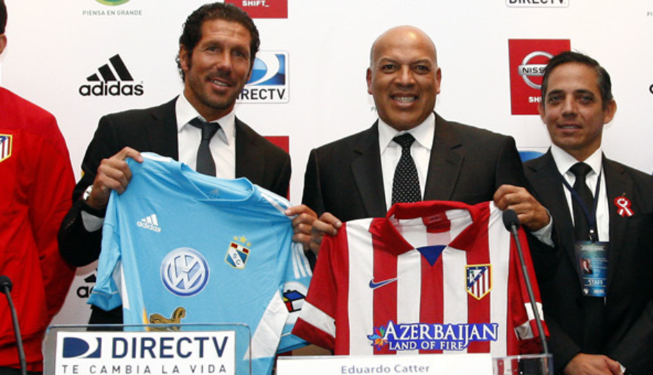 Pretemporada 2013-14. Rueda de prensa de Simeone y Diego Costa en Lima (Perú)