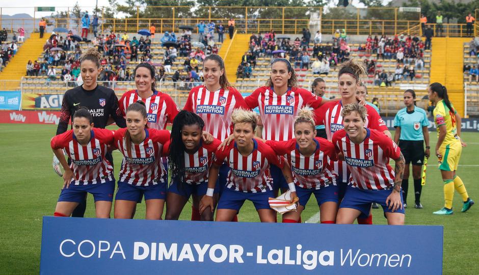 Temporada 18/19. Atlético de Madrid Femenino en Colombia en pretemporada frente al Atlético Huila. Once