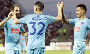Temporada 2018-2019   Cagliari-Atlético de Madrid   Borja Garcés, Juanfran, Correa