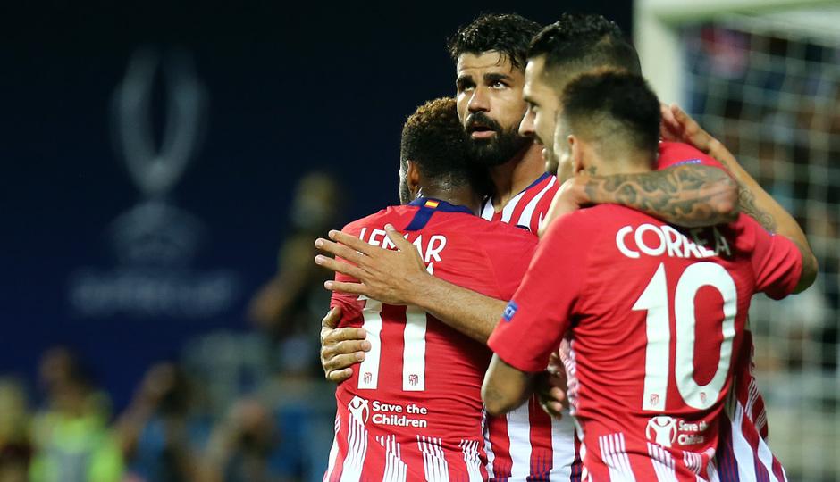 temporada 18/19. Supercopa de Europa. Celebración segundo gol de Diego Costa