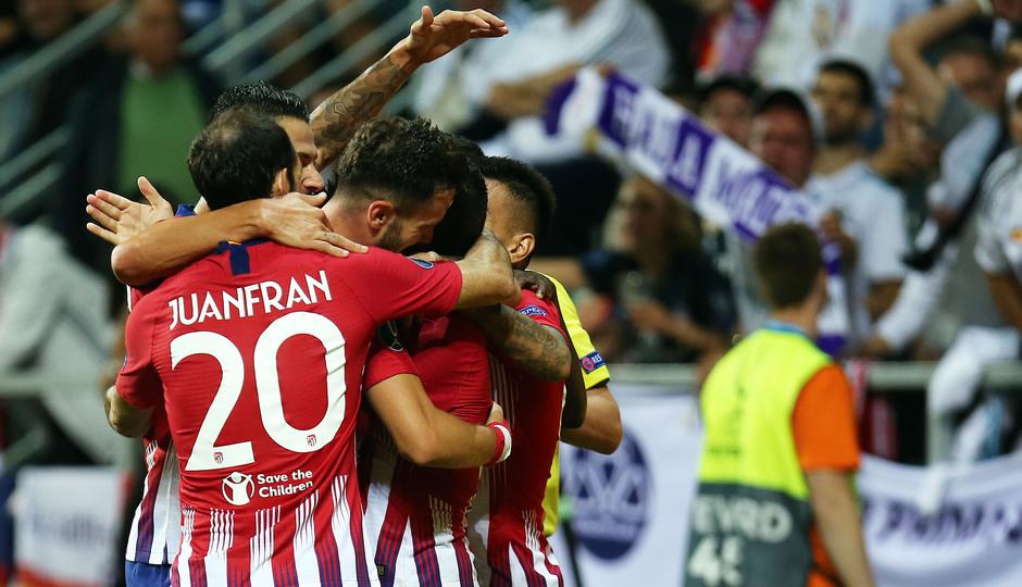 temporada 18/19. Supercopa de Europa. Celebración gol