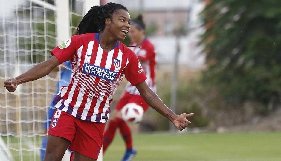Temporada 2018-2019   Málaga CF Femenino - Atlético de Madrid Femenino   Celebración gol Ludmila