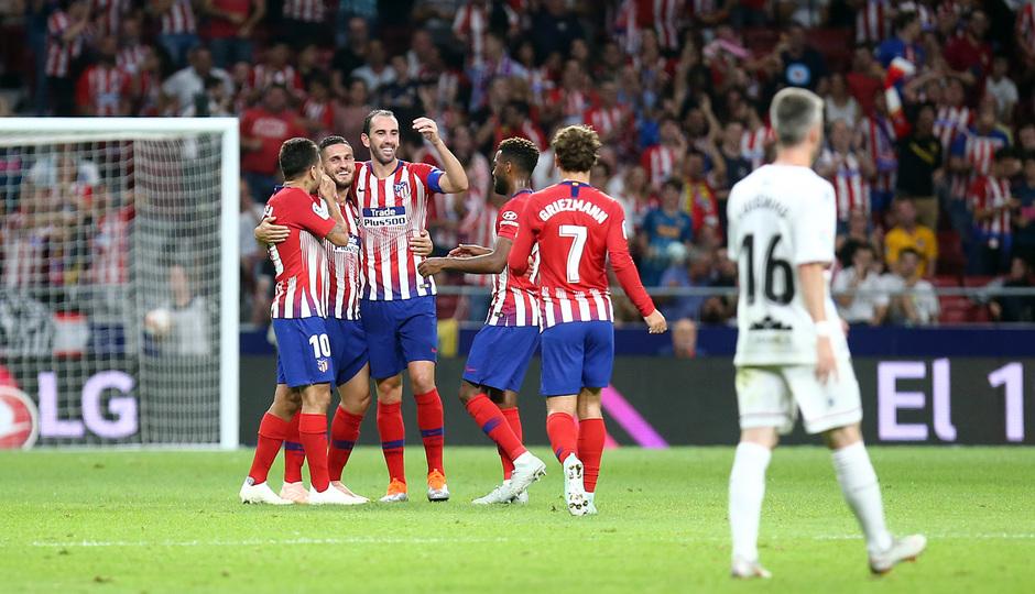 Temporada 2018-2019 | Atlético de Madrid- SD Huesca | Gol Koke celebración grupo