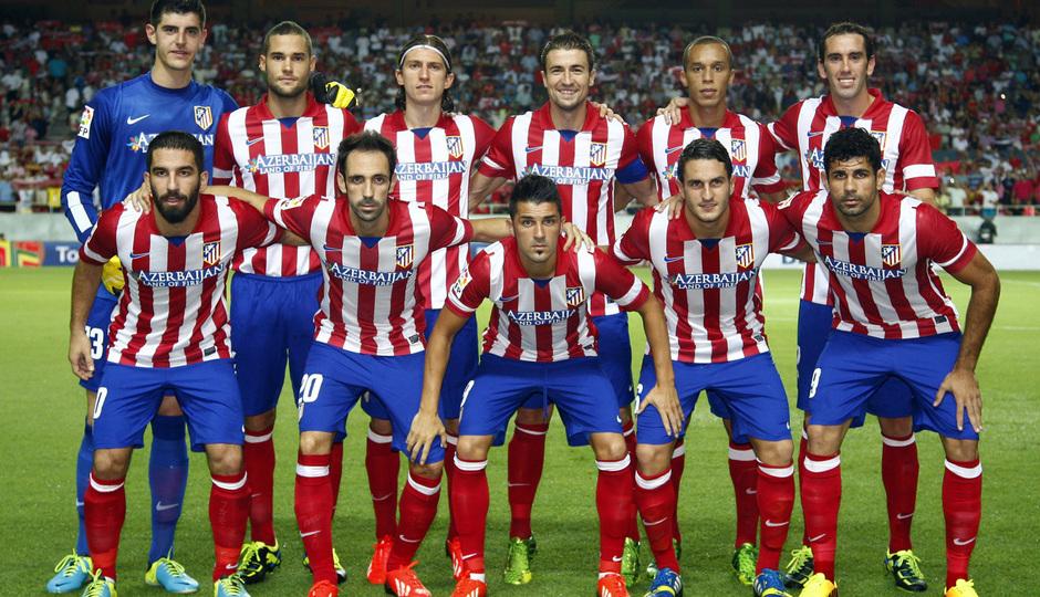 Temporada 13/14 Sevilla-Atlético de Madrid Once inicial en el primer partido de Liga