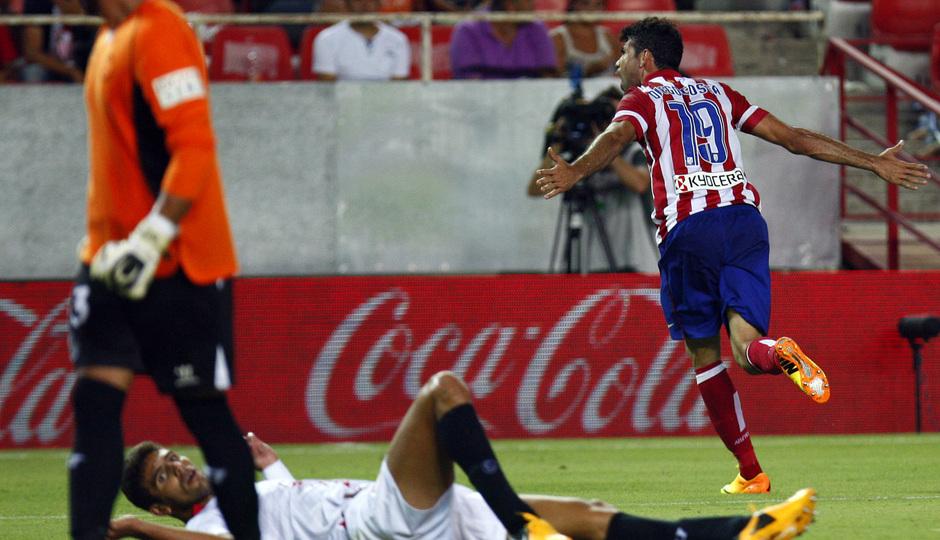 Temporada 13/14 Sevilla-Atlético de Madrid Diego Costa tras uno de los tantos en el Sánchez Pizjuán