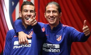 temporada 18/19. Entrenamiento en el Wanda Metropolitano. Lucas y Filipe durante el entrenamiento