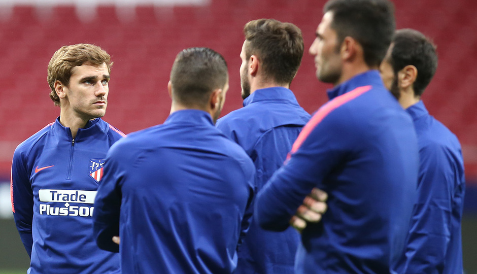 temporada 18/19. Entrenamiento en el Wanda Metropolitano. Griezmann durante el entrenamiento