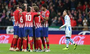 Temporada 2018-2019 | Atlético de Madrid - Real Sociedad | celebración gol Filipe Luis
