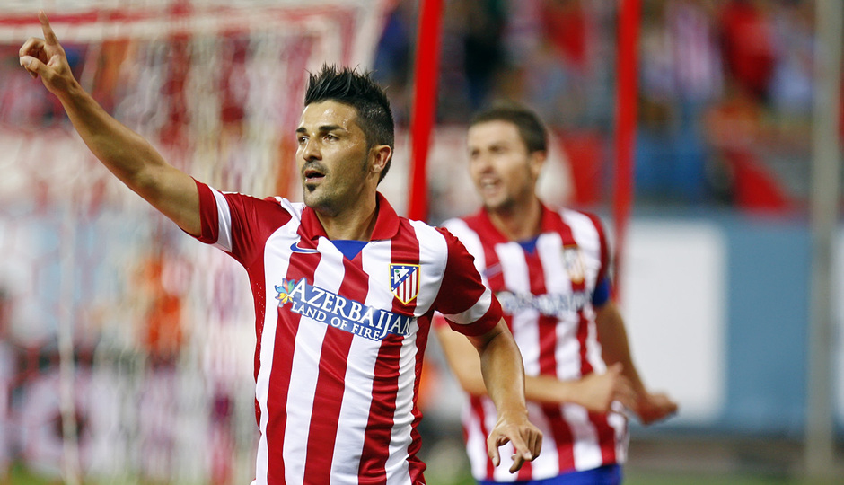 Temporada 13/14. Partido Supercopa. Vicente Calderón. Villa celebrando gol