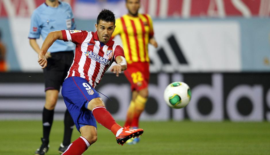 Temporada 13/14. Partido Supercopa. Vicente Calderón. Villa marcando gol