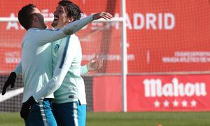 temporada 18/19. Entrenamiento en la ciudad deportiva Wanda. Savic y Lucas durante el entrenamiento