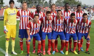 Once del Atlético B en el primer partido de Liga 2013-2014 frente al Real Madrid C en la Ciudad Deportiva de Majadahonda