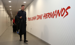 Simeone llegando al Wanda Metropolitano (primer partido)