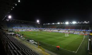 El Atlético se entrenó en el Jan Breydel Stadion de Brujas, escenario del partido de Champions