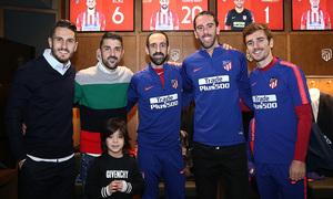 Temp. 18-19   Visita Torres y Villa al Wanda Metropolitano   Juanfran, Godín y Griezmann