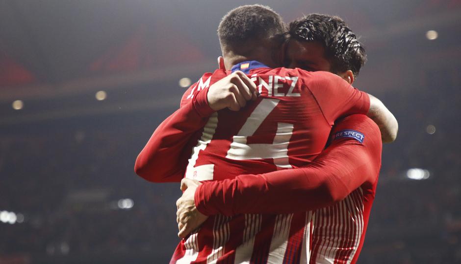 Temp. 18-19   Atlético de Madrid - Juventus   Giménez y Morata celebración