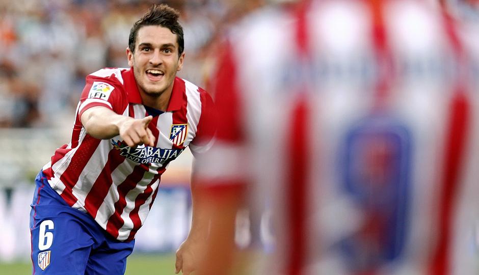 Temporada 2013/2014 Real Sociedad - Atlético de Madrid Koke festejando su gol ante la Real