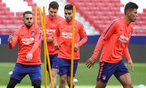 Temporada 18/19. Entrenamiento en el Wanda Metropolitano. Jugadores durante el entrenamiento.