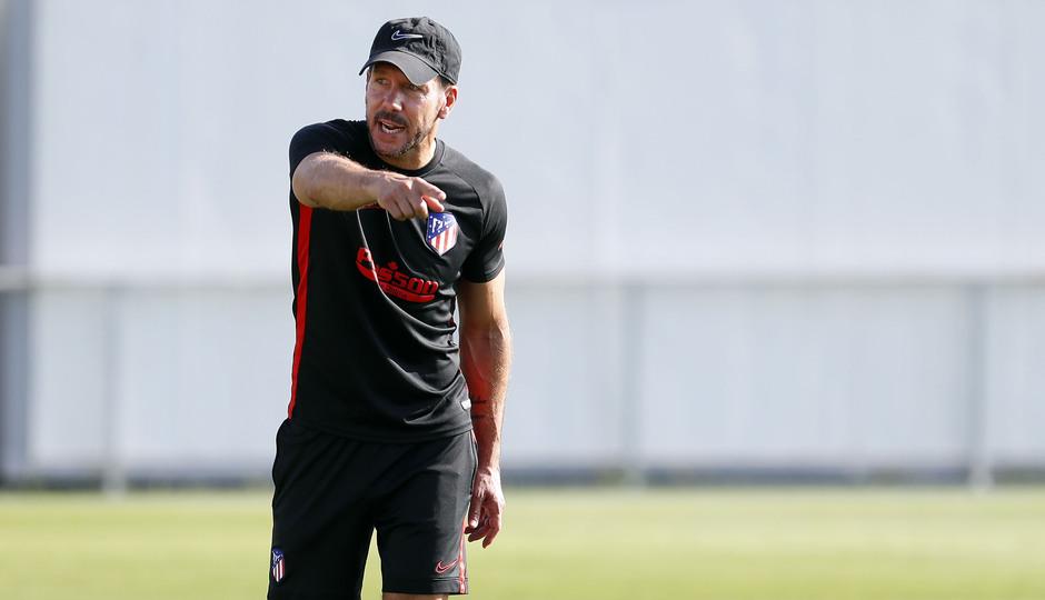 Entrenamiento en la Ciudad deportiva Wanda Atlético de Madrid 03-09-2019. Simeone.