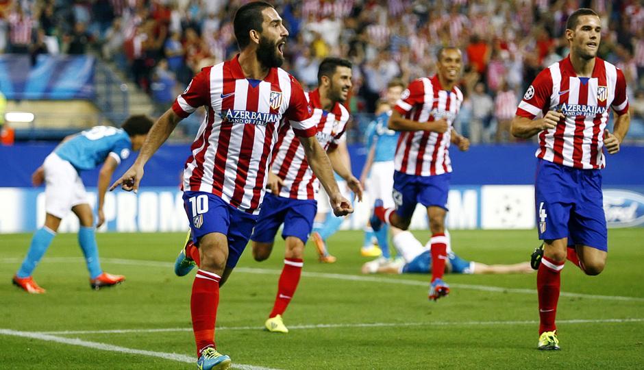 Temporada 2013/2014 Atlético de Madrid - Zenit Arda celebrando el gol