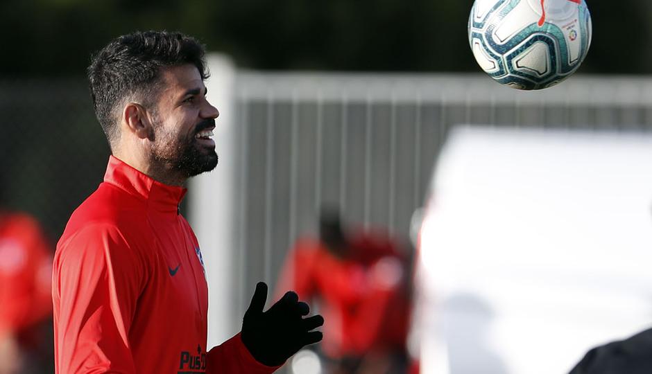 Entrenamiento en la Ciudad deportiva Wanda Atlético de Madrid 15-10-2019. Diego Costa.