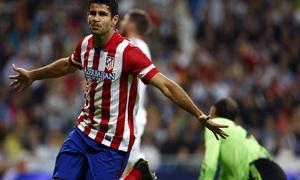 Temporada 2013/2014 Real Madrid - Atlético de Madrid Diego Costa tras su tanto en el Bernabéu