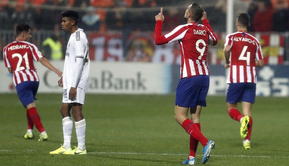 Partido Atlético de Madrid B - Real Madrid Castilla. Celebración Darío Poveda.