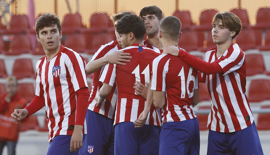Temporada 19/20. Youth League. Atlético de Madrid Juvenil A - Lokomotiv. Celebración