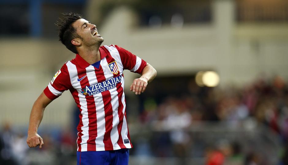 Temporada 13/14. Partido Atlético de Madrid-Betis. Villa celebrando el gol