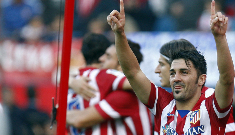Temporada 2013/ 2014. Atlético de Madrid - Athletic. David Villa, sonriente en la celebración.