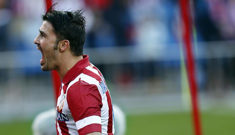 Temporada 20132-2014. Partido Atlético de Madrid- Bilbao, Villa celebrando un gol