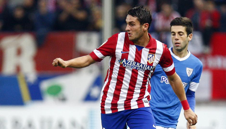 Temporada 20132-2014. Partido Atlético de Madrid- Bilbao, Koke con el balón