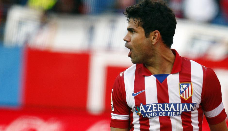 Temporada 20132-2014. Partido Atlético de Madrid- Bilbao, Costa celebrando un gol