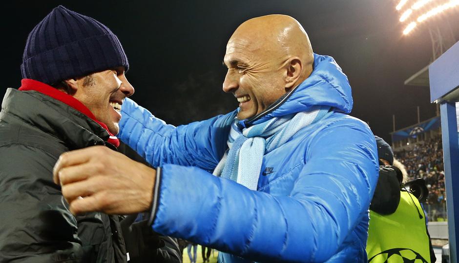 Temporada 13/14. Champions League. Zenit - Atlético de Madrid. Saludo entre Simeone y Spalletti