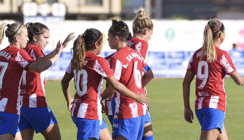 Temporada 2021/22   Triangular amistoso   Atleti Femenino-Burgos   Celebración gol Thembi