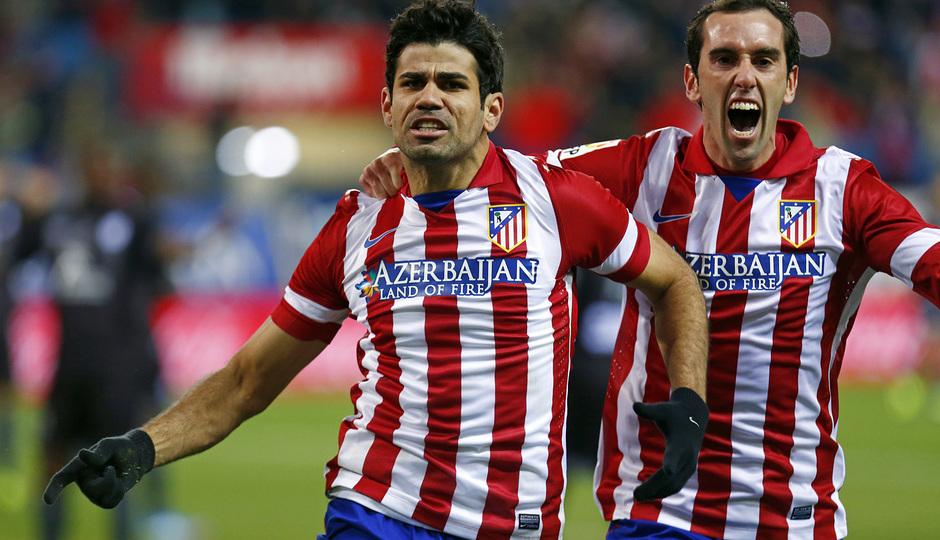 temporada 13/14. Partido Atlético de Madrid- Levante. Celebración Diego Costa y Godín
