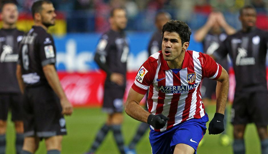 temporada 13/14. Partido Atlético de Madrid- Levante. Celebración Diego Costa