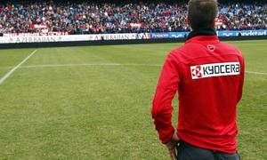 temporada 13/14. Equipo entrenando en el Calderón. Gabi dirigiendo unas palabras a la afición